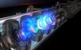 Representación artística de un haz de electrones en un ondulador, el corazón de un láser de electrones libres. | Fuente: FLASH-DESY