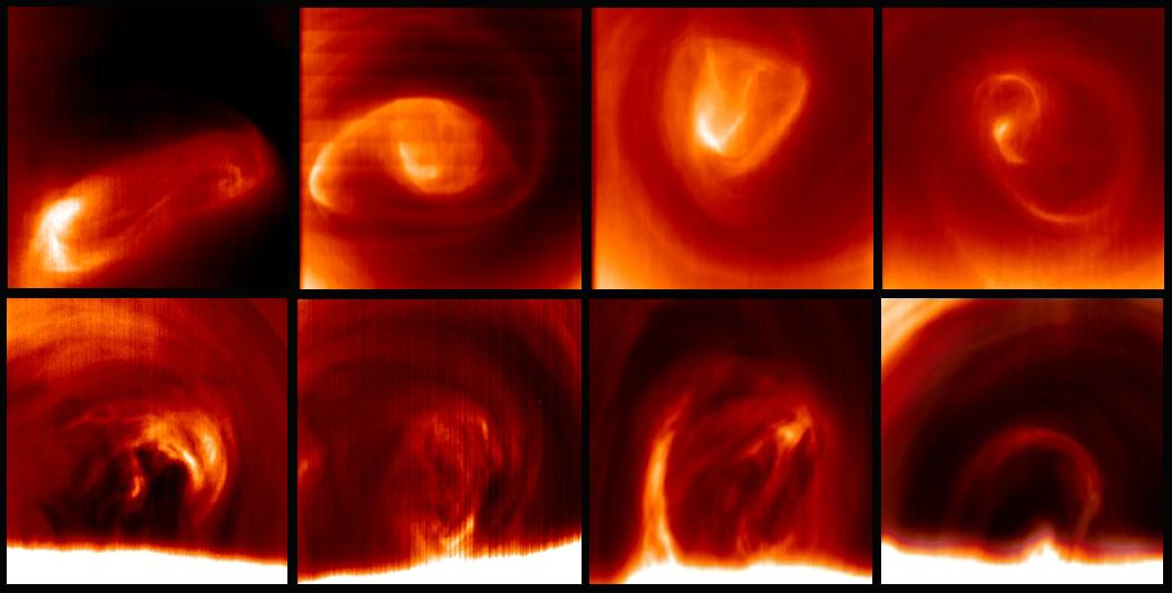 El vórtice polar sur de Venus cambia de forma a diario. Las imágenes de la parte superior de la figura muestran la nube superior de Venus, a 65 km por encima de la superficie del planeta. Las imágenes inferiores muestran el vórtice 20 km más abajo mostrando la extensión vertical y variabilidad de este fenómeno atmosférico (Foto: ©Grupo de Ciencias Planetarias, UPV/EHU)