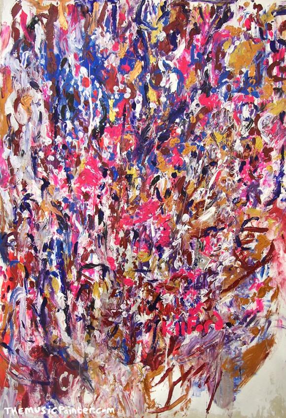 """""""Deep Purple"""" firmado por Kilford y Deep Purple. Kilford es un cromesteta; este cuadro fue pintado durante una actuación en directo de Deep Purple"""