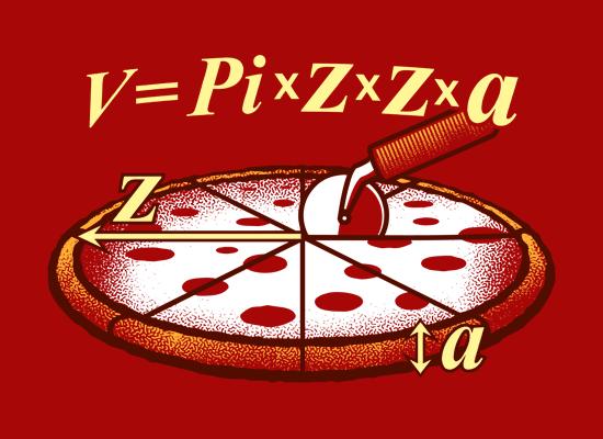 Diseño de una camiseta utilizando este teorema de la pizza (www.snorgtees.com)