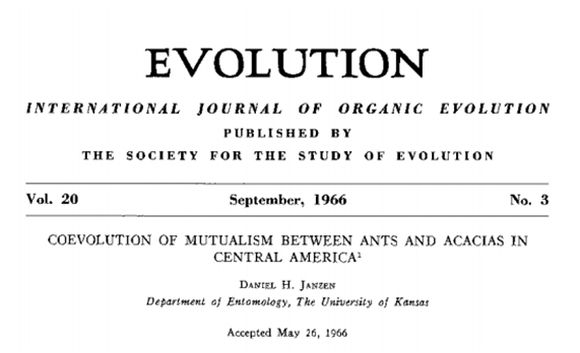 Coevolution of mutualism between ants and acacias in Central America