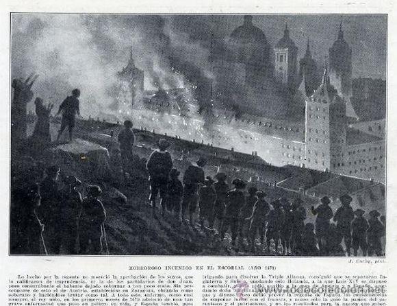 El incendio de la Biblioteca de El Escorial de 1671 en una publicación de 1910