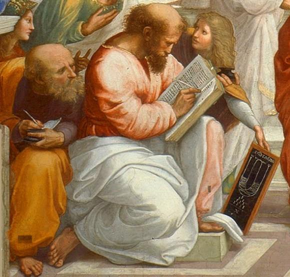 """Detalle de la obra """"La Escuela de Atenas"""" (1510/11) de Rafael Sanzio, en el que aparece Pitágoras y la tetractys."""