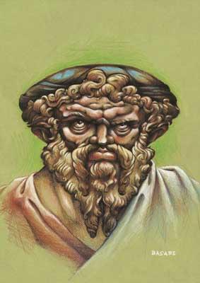 """IMAGEN 2 (Pie de imagen: Caricatura de Pitágoras, realizada por Gerardo Basabe, como parte de la exposición """"El Rostro humano de las matemáticas"""""""
