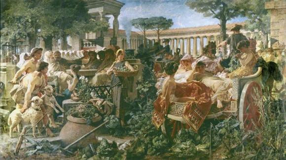 Escuela pitagórica invadida por los Sibaritas (1887), Michele Tedesco)