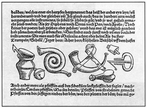 Imagen de Musicagetutschtundaußgezogen (Resumen de la ciencia de la Música) de SebastianVirdung, 1511. Otro libro relevante de aquella época y abundante en ilustraciones es el Syntagmamusicum (Tratado de la música) de Michael Praetorious, 1614-1620.