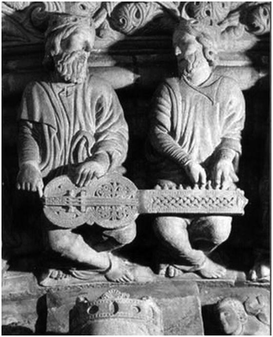Organistrum, relieve de la catedral de Santiago