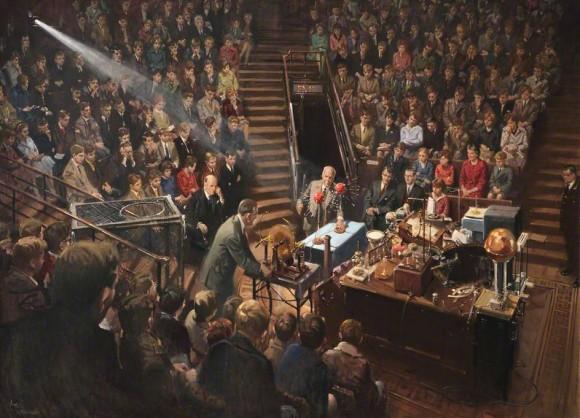 Sir Lawrence Bragg dando las Christmas Lectures de 1961 en el teatro de la Royal Institution | Óleo sobre lienzo de Terence Tenison Cuneo (1962)