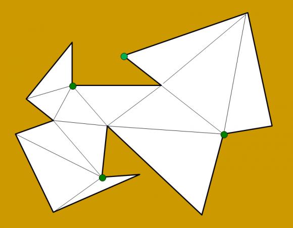 IMAGEN 11 (Pie de imagen: En esta variación de la galería anterior, hay 14 vértices, luego 14/3=4, y el color con menos vértices es de nuevo el verde, con 4 vértices)