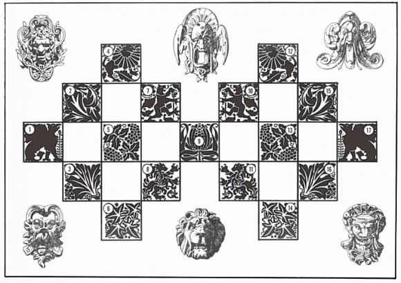 Tablero que aparece en el libro The Curious Book of Mind-boggling Teasers, Tricks, Puzzles & Games de Charles Barry Townsend