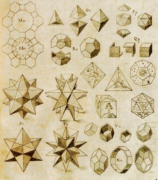Ilustración del libro de Johannes Kepler Harmonices Mundi, 1619, en la que podemos ver en la parte inferior derecha el rombododecaedro y el triacontaedro rómbico, descompuestos en tres partes para ver su geometría