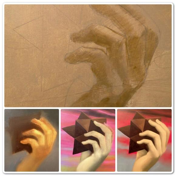 Detalle del proceso pictórico de la mano sujetando el rombododecaedro estrellado