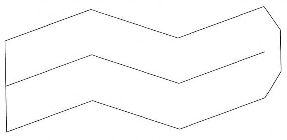 Pieza patrón formada por dos tiras para la realización de un rombododecaedro, podéis bajaros el pdf pinchando aquí