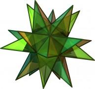 Un poliedro convexo, el dodecaedro (arriba), y un poliedro no convexo, el gran dodecaedro estrellado (abajo)