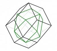 El rombododecaedro y el cuboctaedro son duales entre sí