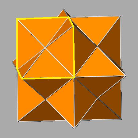 El rombododecaedro estrellado puede dividirse en ocho partes iguales