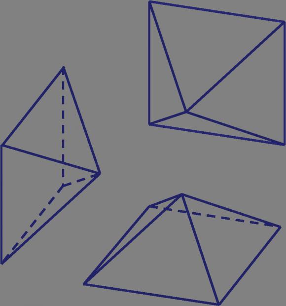 Cada una de las 8 partes iguales en las que se divide el sólido de Escher está compuesta por 3 pirámides que se juntan como se muestra en la imagen. Y con otras tres pirámides más se completaría un pequeño cubo