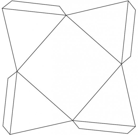 Uno de los desarrollos planos de la pirámide con la que construir el sólido de Escher