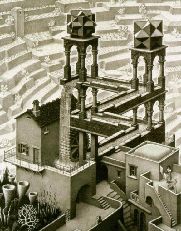 En la litografía Cascada (1961), de M. C. Escher, aparecen dos poliedros, el de la izquierda es la unión de tres cubos, mientras que el otro es el rombododecaedro estrellado