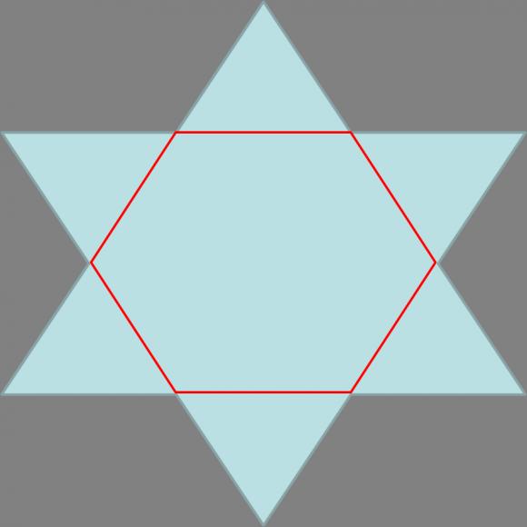 El proceso de estrellación también se realiza sobre polígonos, así a partir de un pentágono se obtiene la estrella pentagonal, o pentagrama, y desde un hexágono se construye la estrella hexagonal, hexagrama o estrella de David