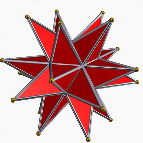 Las tres estrellaciones del dodecaedro, el pequeño dodecaedro estrellado, el gran dodecaedro y el gran dodecaedro estrellado. Imágenes realizadas por el programa Stella de Robert Webb