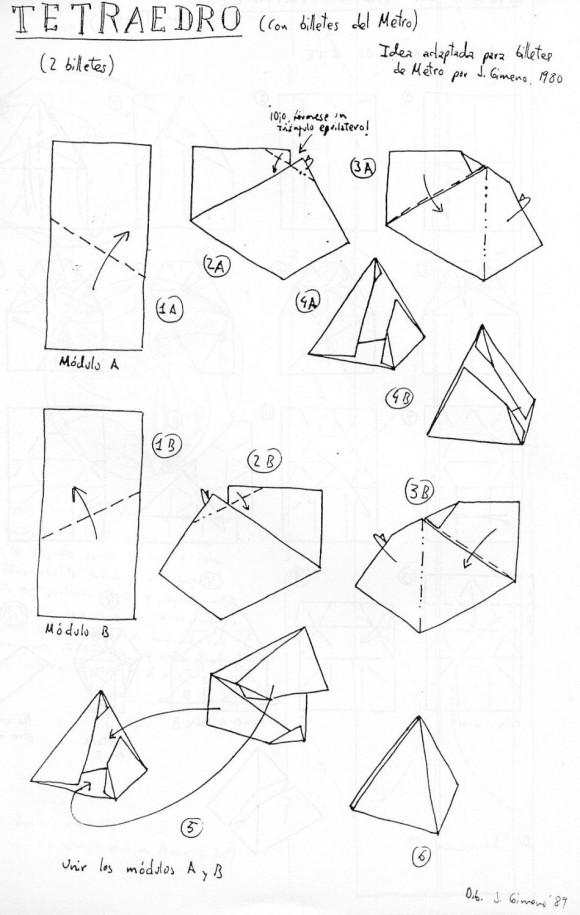 Diagrama de Juan Gimeno para construir un tetraedro con dos billetes de metro
