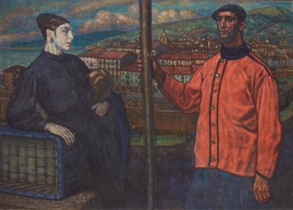 Pescadores vascos (1918), Alberto Arrúe, óleo sobre lienzo, 135,5 x 190,5 cm