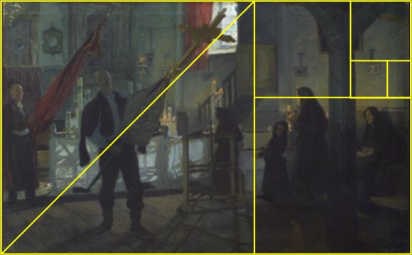 Después de la misa en la iglesia de Arteaga (1899), Anselmo Guinea, óleo sobre lienzo, 126,2 x 201,5 cm; y su relación con la divina proporción