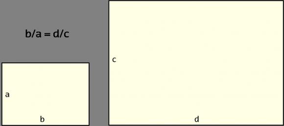 Dos rectángulos con la misma proporción -1,4- luego con la misma forma