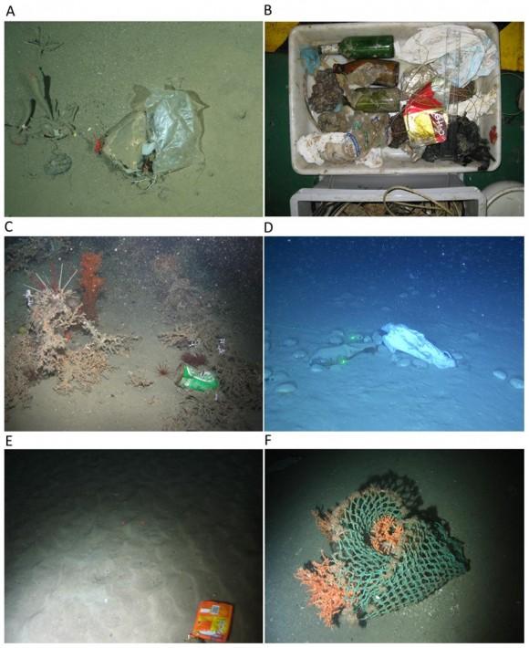 Basura en el lecho marino de aguas europeas recogida en diversos puntos entre los 900 y los 1.500 metros de profundidad.