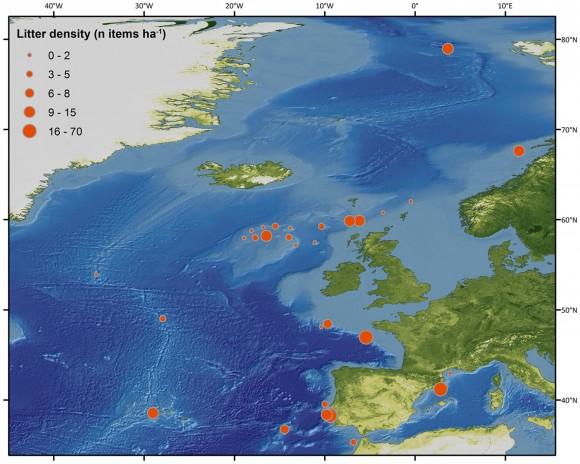 Densidades de basura (número de artículos / ha) en diferentes lugares a través de las aguas europeas.