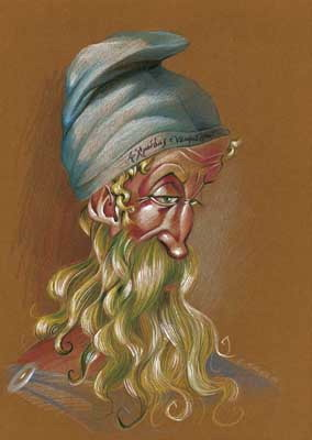 Caricatura de Arquímedes, realizada por Enrique Morente para la exposición El rostro humano de las matemáticas