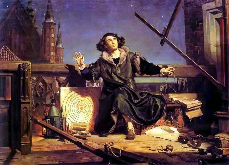 """Astrónomo Copérnico o conversaciones con Dios, Jan Matejko (1873) que muestra a Copérnico en el castillo de Olsztyn (Warmia) rodeado de un astrolabio y la imagen del sistema heliocentrista de su obra """"De Revolutionibus"""")"""