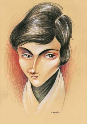 Caricatura de Évariste Galois, realizada por Enrique Morente para la exposición El rostro humano de las matemáticas