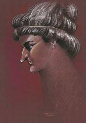 Caricatura de Hipatia, realizada por Enrique Morente para la exposición El rostro humano de las matemáticas