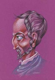 Caricatura de Girolamo Cardano, realizada por Enrique Morente para la exposición El rostro humano de las matemáticas