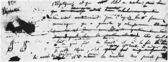 Fragmento de una de las cartas de Galois en el que pueden verse superpuestos los nombres Evariste y Stéphanie, y también la combinación de las letras E y S creando un anagrama
