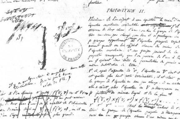 """Fragmento de la carta dirigida a Chevalier en la que puede leerse en francés """"Faltan cosas por completar en esta demostración. No tengo tiempo"""""""