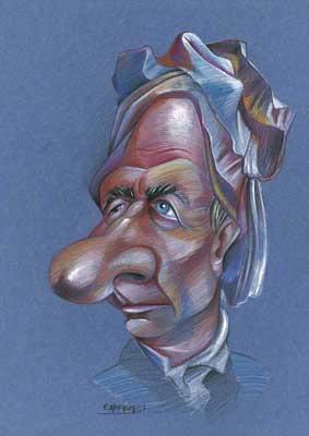 Caricatura de Leonhard Euler, realizada por Enrique Morente para la exposición El rostro humano de las matemáticas