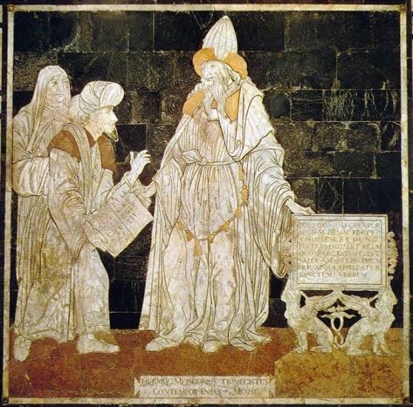"""Representación de Hermes Trismegisto en el suelo de la catedral de Siena. Puede leerse """"Hermes Mercurio Trismegisto contemporáneo de Moisés""""."""