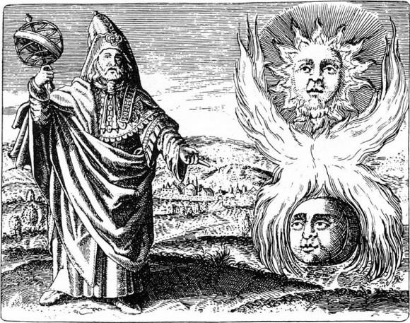 Representación de hermes Trismegisto en el Viridiarium chymcum de Stolcius von Stolcenbeerg, 1624