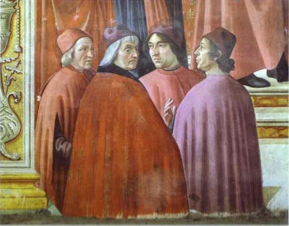 """Detalle de """"Zacarías en el templo"""" fresco de Domenico Ghirlandaio en la Capilla Tornabuoni de Santa Maria Novella, en Florencia. Marsilio Ficino es el primero por la izquierda."""