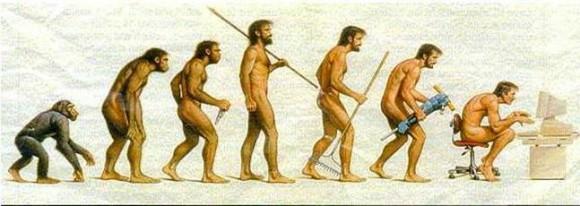 Representación satírica de la evolución humana.