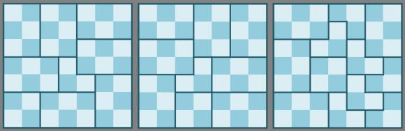 Los tres diagramas de Golomb que demuestran que los tableros deficientes de lado 7 pueden ser cubiertos mediantes L-triominós
