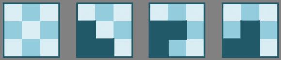 El tablero 3 x 3, al igual que los rectángulos de la forma 3 x (2k+1), no puede ser embaldosado con L-triominós, puesto que en ninguno de los tres casos posibles de colocación de un L-triominó que cubra la esquina inferior izquierda, este puede ser completado para cubrir el tablero 3x3, y en general, los tableros 3 x (2k+1)