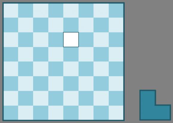Problema 1: intentar cubrir el tablero deficiente 8 x 8 de esta imagen con L-triominós