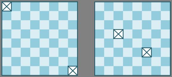 Problema 2: Cubrir los 62 cuadrados de un tablero de ajedrez al que se le ha quitado los dos cuadrados de esquinas opuestas, con 31 dominós. Problema 3: Cubrir los 62 cuadrados de un tablero de ajedrez al que se le han quitado dos cuadrados cualesquiera del tablero, mediante 31 dominós