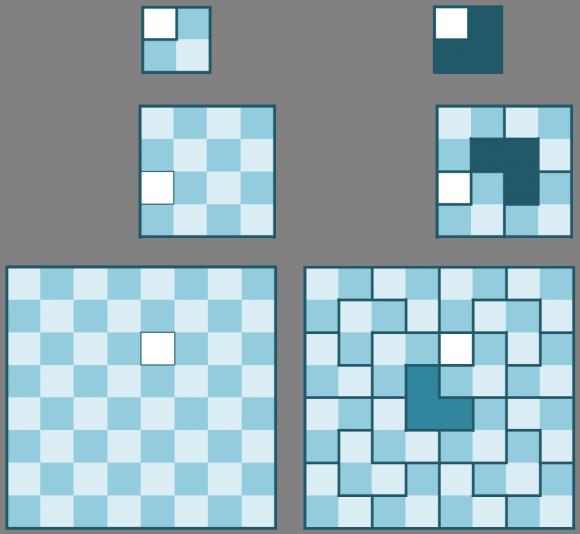 """Embaldosado de tableros deficientes de lados 2, 4 y 8, cada uno a partir del anterior mediante la técnica del """"divide y vencerás"""""""