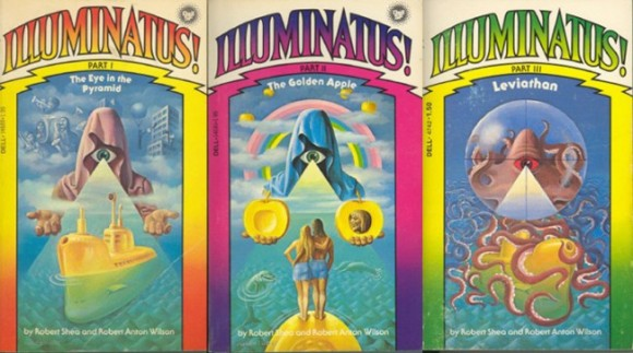 Cubiertas de los tres libros de la trilogía Illuminatus!, de Robert A. Wilson y Robert Shea: The Eye in the Pyramid, The Golden Apple y Leviathan