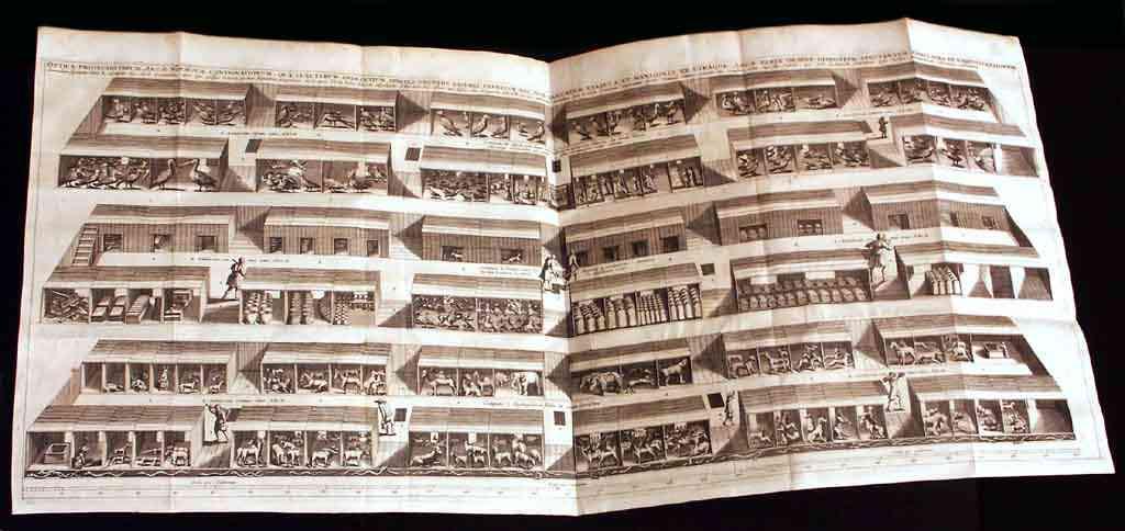 Distribución detallada del interior del Arca Noë de Athanasius Kircher